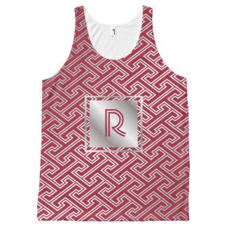 Monogram Wine Red Silver Interlocking Pattern All-Over-Print Tank Top