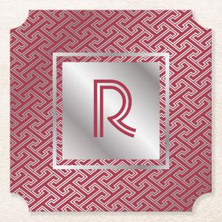 Monogram Wine Red Silver Interlocking Pattern Paper Coaster