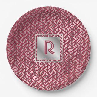 Monogram Wine Red Silver Interlocking Pattern Paper Plate