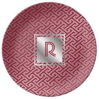 Monogram Wine Red Silver Interlocking Pattern Plate