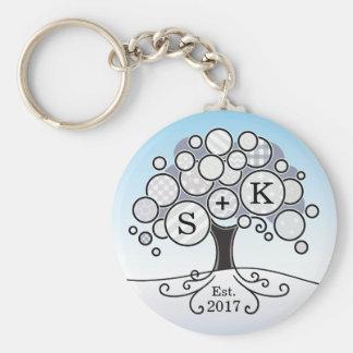 Monogram Winter Wedding Patchwork Pattern Tree Basic Round Button Keychain