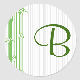 Monogram with Bamboo Background - Letter B Round Sticker