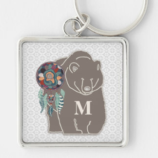 Monogram with Bear in Brown Native American Theme Silver-Colored Square Keychain