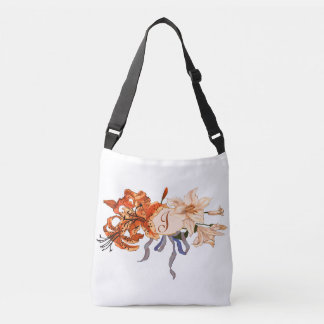 Monogram with Beautiful Vintage Tiger Lily Bouquet Crossbody Bag
