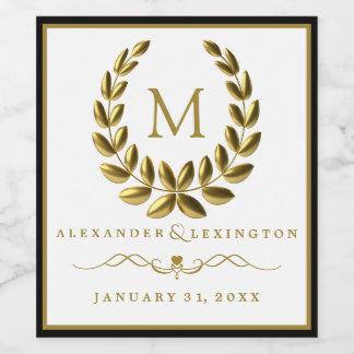 Monogram with Laurel Wreath Black and Gold Wedding Wine Label