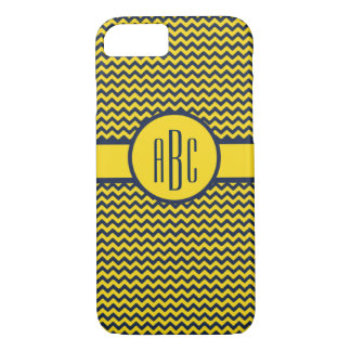 Monogram with Maize and Blue Design iPhone 7 Case