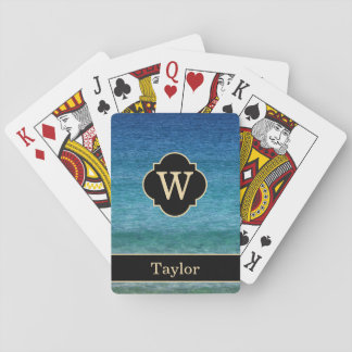 Monogram with Name Calm Ocean Playing Cards