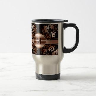 Monogram_with patterns background travel mug