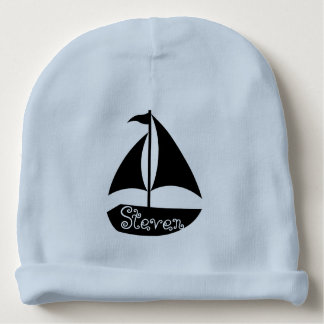 Monogram with Sail Boat Silhouette Baby Beanie
