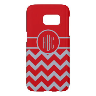 Monogram with Scarlet and Gray Design Samsung Galaxy S7 Case