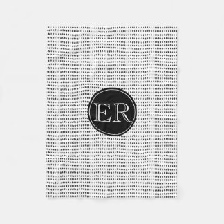 Monogram With Spots in Black and White Fleece Blanket