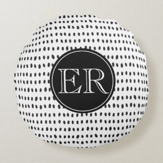 Monogram With Spots in Black and White Round Pillow