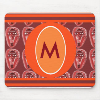 monogram with weirk red balloon cartoon mouse pad