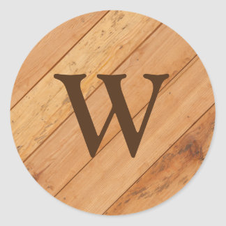 Monogram with Wooden Background Classic Round Sticker