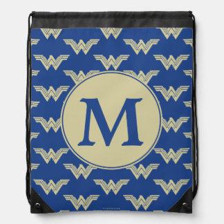 Monogram Wonder Woman Logo Pattern Drawstring Bag