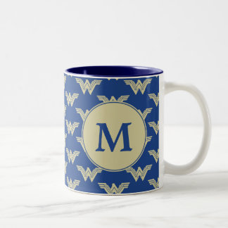 Monogram Wonder Woman Logo Pattern Two-Tone Coffee Mug