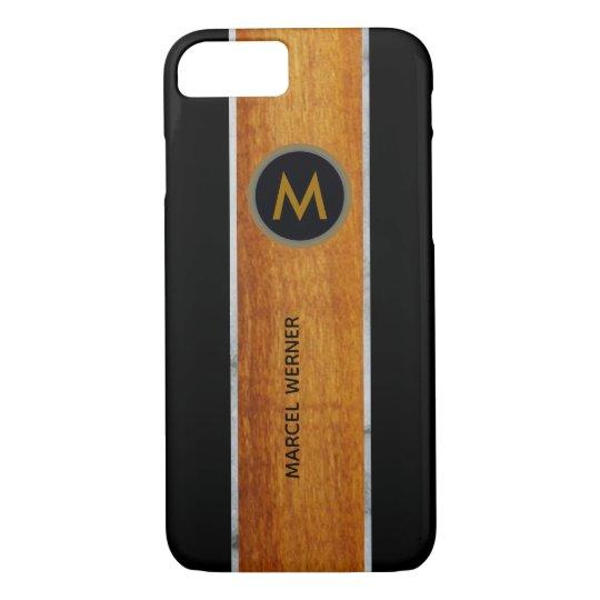 monogram wood / black iPhone 8/7 case