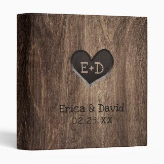 Monogram Wood Heart Rustic Wedding Album 3 Ring Binder
