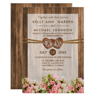Monogram Wood Hearts with Pink and White Roses Card