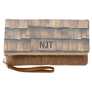 Monogram: Wooden Shingles Abstract Photography Clutch