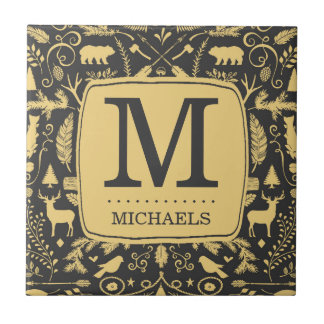 Monogram Woodland Holiday Tile