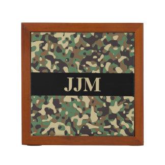 Monogram Woodland Tan Green Camo Camouflage Black Desk Organizer