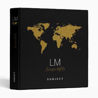 monogram + world map on black elegant vinyl binder