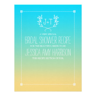 Monogram Wreath Beach Ombre Bridal Shower Divider Custom Letterhead