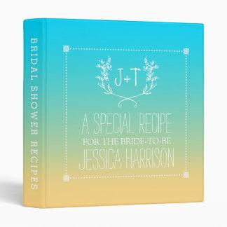 Monogram Wreath Beach Ombre Bridal Shower Recipe Vinyl Binder
