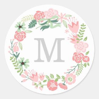 Monogram Wreath   Envelope Seal Classic Round Sticker