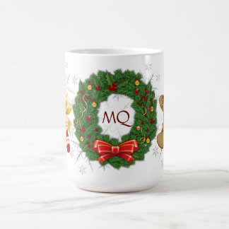 Monogram Wreath, Gingerman, Candy Cain, Snowflakes Coffee Mug