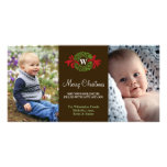 Monogram wreath red green merry Christmas greeting Customized Photo Card