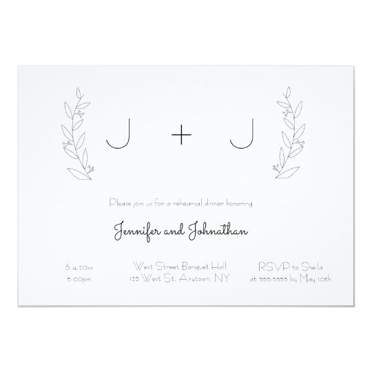 Monogram wreath rehearsal dinner invitations