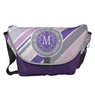 Monogram Wreath Trendy Stripes Purple Laurel Leaf Courier Bags