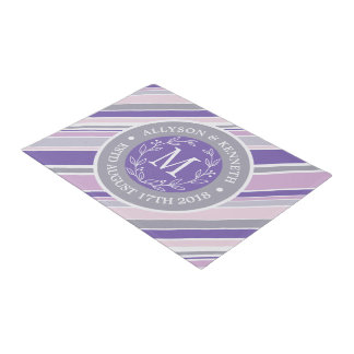 Monogram Wreath Trendy Stripes Purple Laurel Leaf Doormat