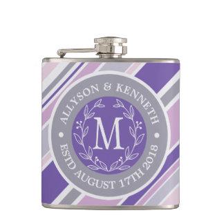 Monogram Wreath Trendy Stripes Purple Laurel Leaf Hip Flask