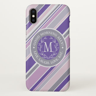 Monogram Wreath Trendy Stripes Purple Laurel Leaf iPhone X Case