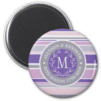 Monogram Wreath Trendy Stripes Purple Laurel Leaf Magnet