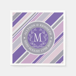 Monogram Wreath Trendy Stripes Purple Laurel Leaf Paper Napkins