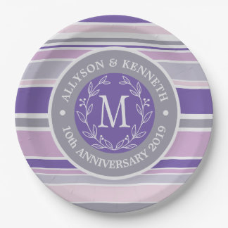 Monogram Wreath Trendy Stripes Purple Laurel Leaf Paper Plate
