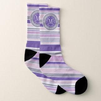 Monogram Wreath Trendy Stripes Purple Laurel Leaf Socks