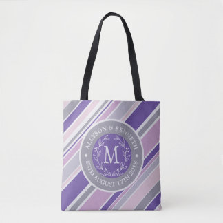Monogram Wreath Trendy Stripes Purple Laurel Leaf Tote Bag