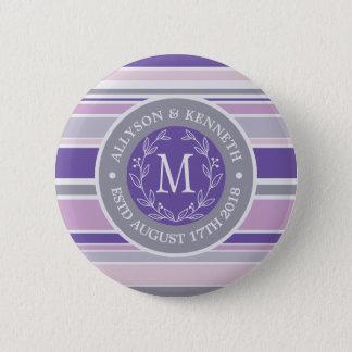 Monogram Wreath Trendy Stripes Purple Leaf Laurel 2 Inch Round Button