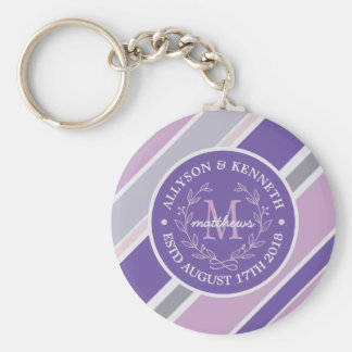Monogram Wreath Trendy Stripes Purple Leaf Laurel Keychain