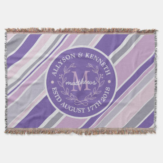 Monogram Wreath Trendy Stripes Purple Leaf Laurel Throw Blanket