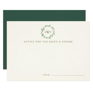 Monogram Wreath Wedding Advice Cards | Forest