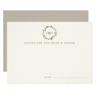 Monogram Wreath Wedding Advice Cards | Twig