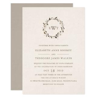 Monogram Wreath Wedding Invitation   Twig