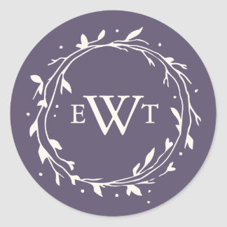 Monogram Wreath Wedding Stickers | Plum