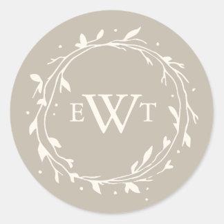 Monogram Wreath Wedding Stickers | Twig